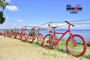 Red bikes lakefront